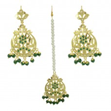 Designer Green Color Gold Plated Earrings And Maang Tikka Set for Women