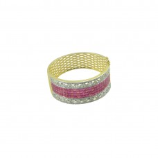 Gold Plated Studded American Diamond kada In Pink Color