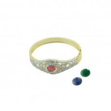 American Diamond Studded Gold Plated Kada In 3 Stone Color
