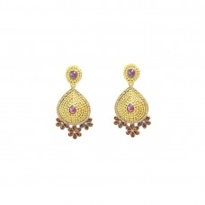 Red Studded Designer Dangler Earrings