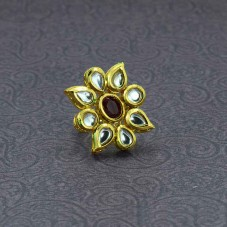 Gold Plated Kundan Ring In Red Stone