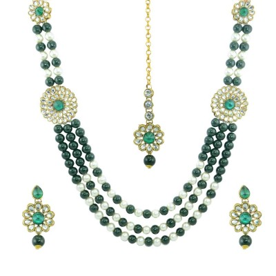 Designer Pearls And Kundan Necklace Set In Green Color