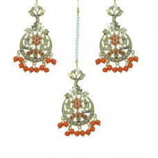 Gorgeous Traditional Red Color  Maang Tikka And Pair Of Earring