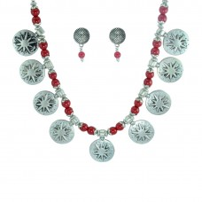 Silver Plated  Necklace Set In Red Color