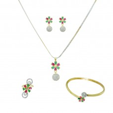 Multicolor Stone And AD Studded Pendant Set
