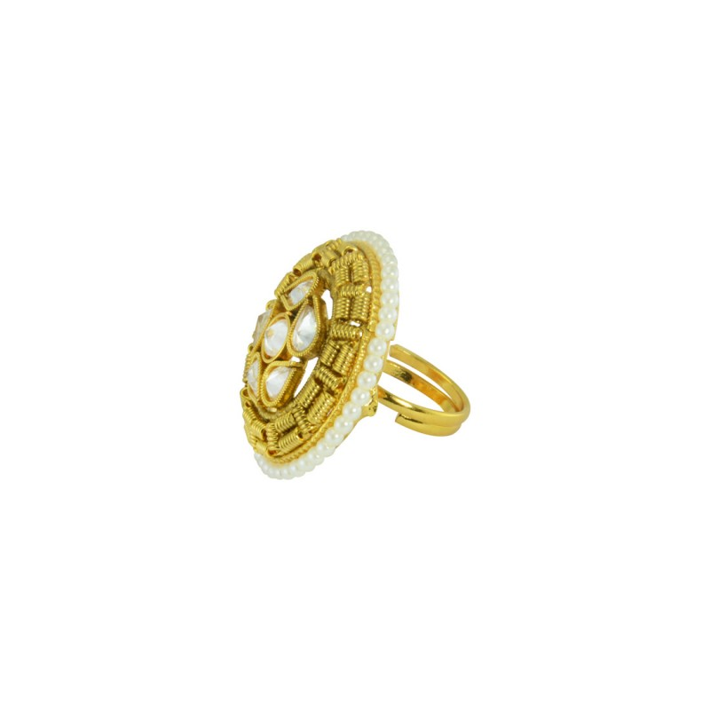 Designer Gold Plated Ring With Multiple White Pearl