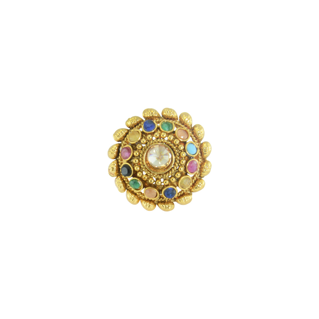 Gold Plated Multicolored Beaded Adjustable Ring for women