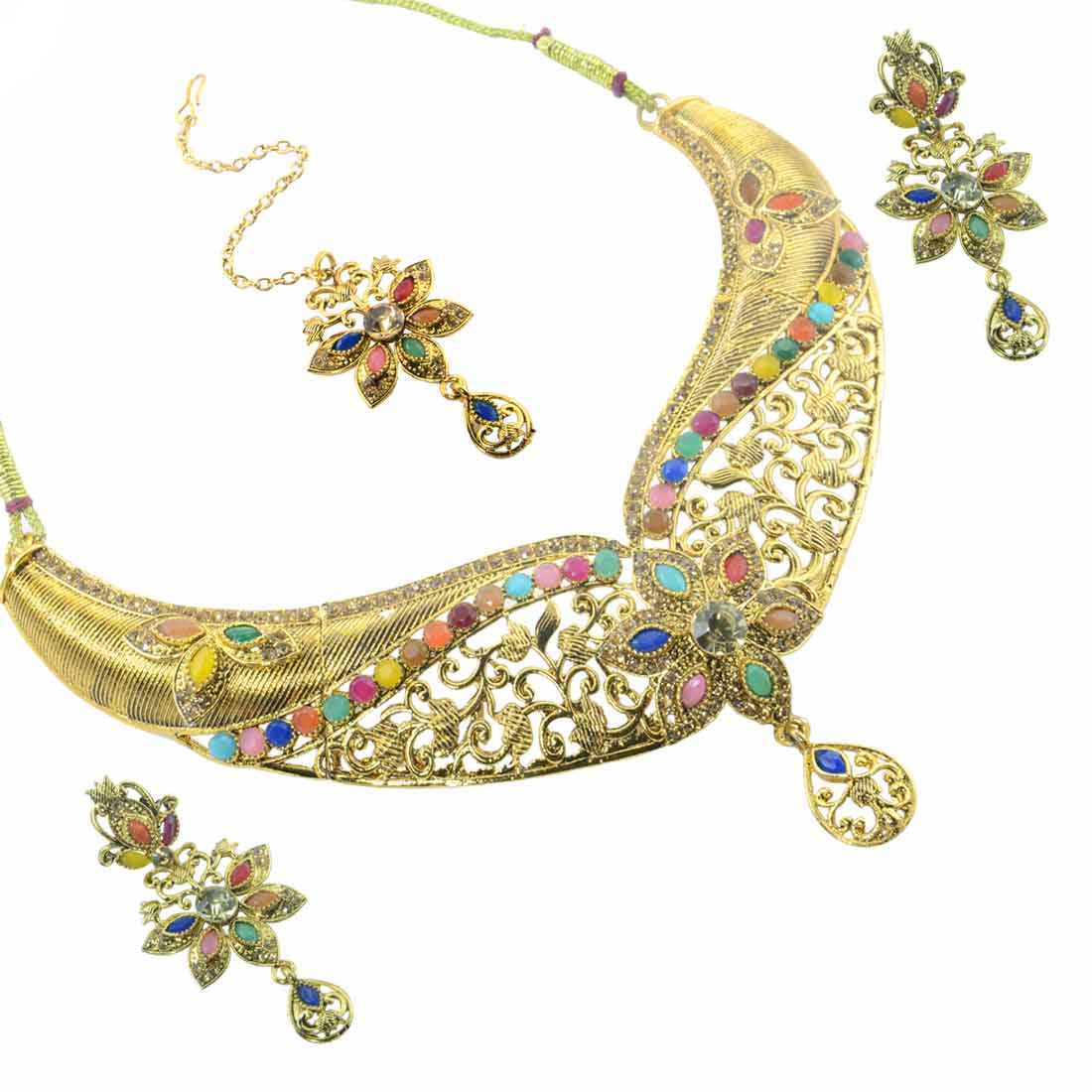 Gold Plated Multicolor Stone Kundan  Necklace Set